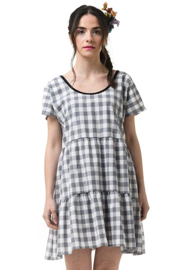 Κοντό Φόρεμα Γκρι Καρό