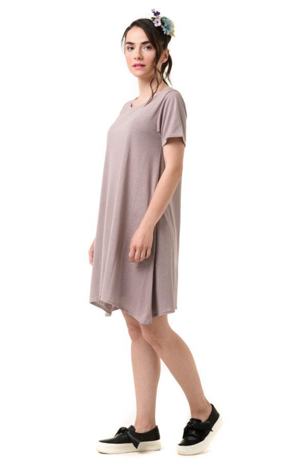 Ροζ Κοντό Φόρεμα Α γραμμή Κοντομάνικο