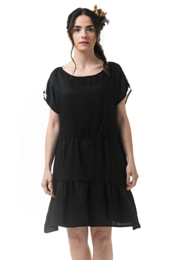 Κοντό Φόρεμα Φαρδύ με Κέντημα Λιβελούλες
