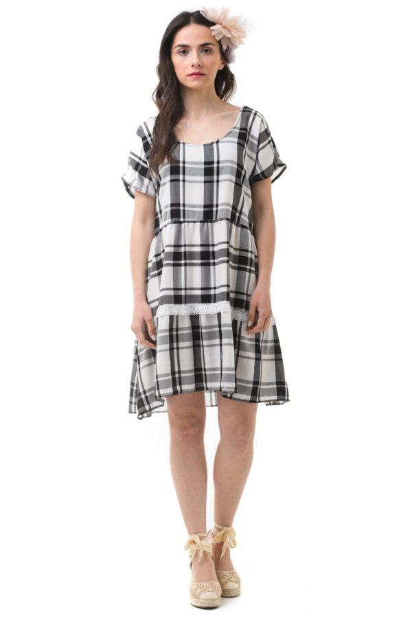 Κοντό Φόρεμα Φαρδύ Καρό Ασπρόμαυρο