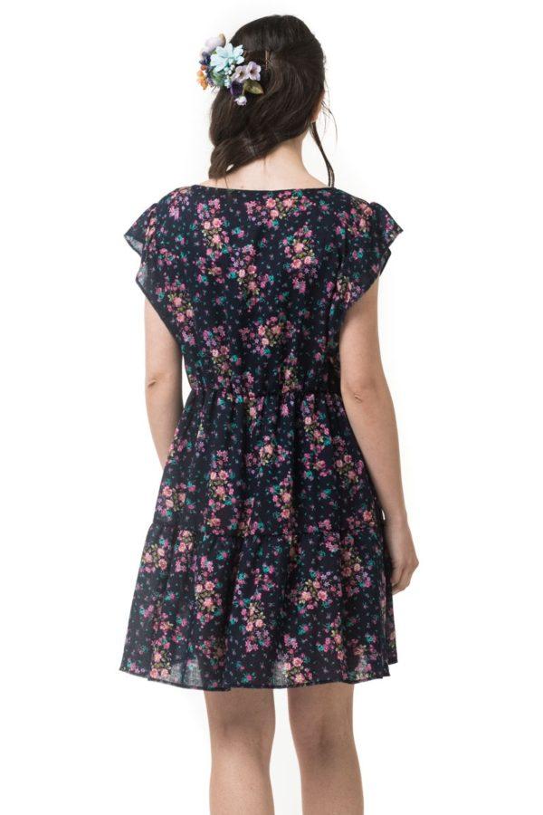 Κοντό Φαρδύ Φόρεμα Μπλε Φλοράλ