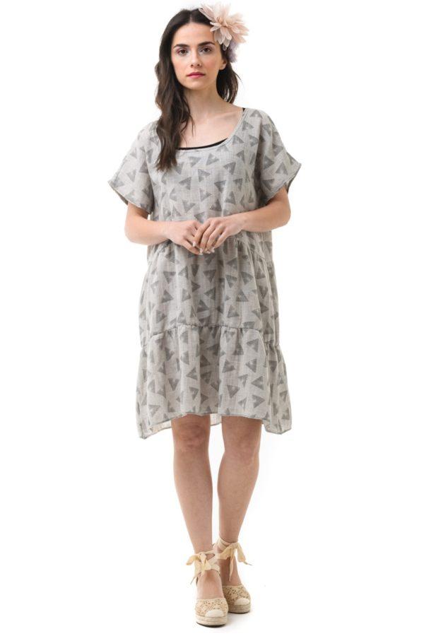 Κοντό Φαρδύ Φόρεμα Λινό Τρίγωνα