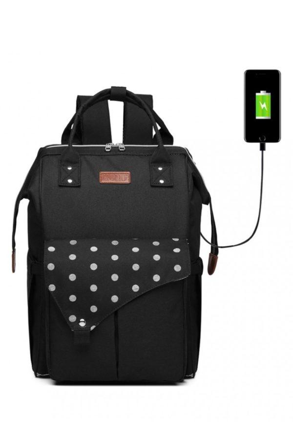 Μαύρη Τσάντα Πλάτης Αλλαξιέρα με USB