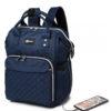 Μπλε Τσάντα Πλάτης Αλλαξιέρα με Θύρα USB
