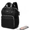 Μαύρη Τσάντα Πλάτης Αλλαξιέρα με Θύρα USB
