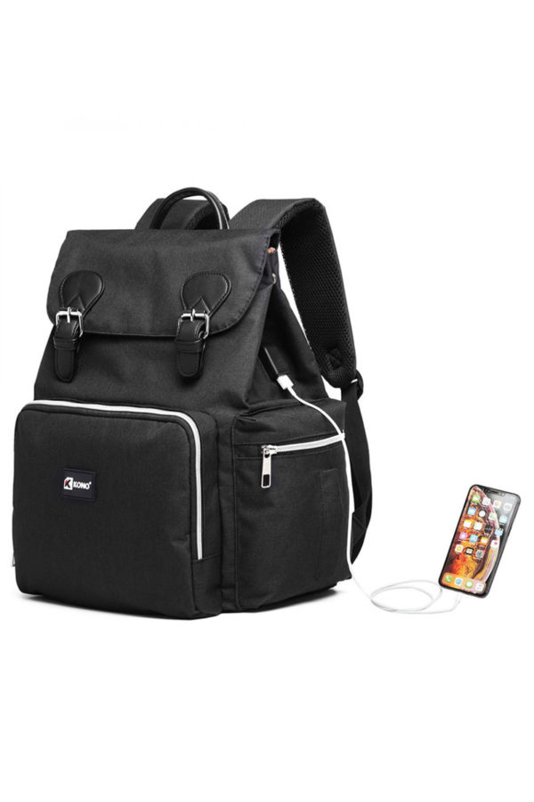 Kono Μαύρη Τσάντα Πλάτης Αλλαξιέρα με Θύρα USB