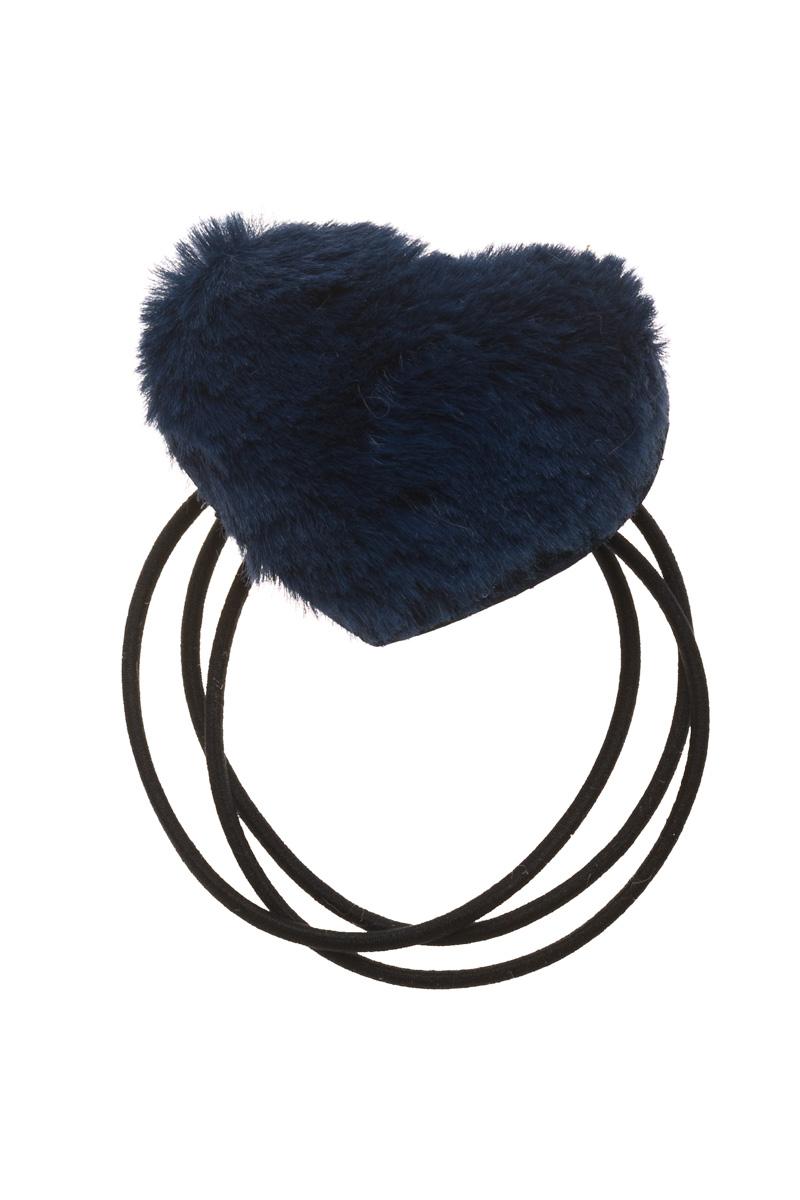 Μπλε Γούνινη Καρδιά Λαστιχάκι Μαλλιών