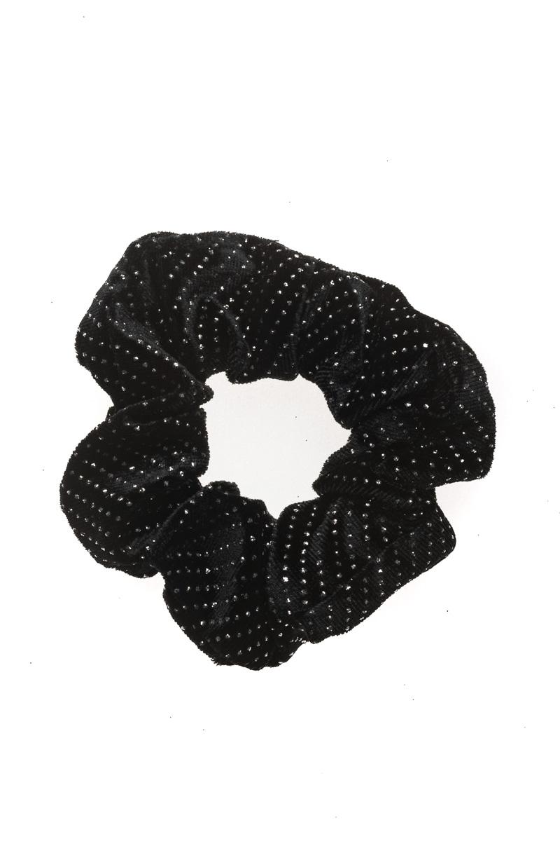 Μαύρη Glitter Βελούδινη Σούρα Μαλλιών Scrunchie