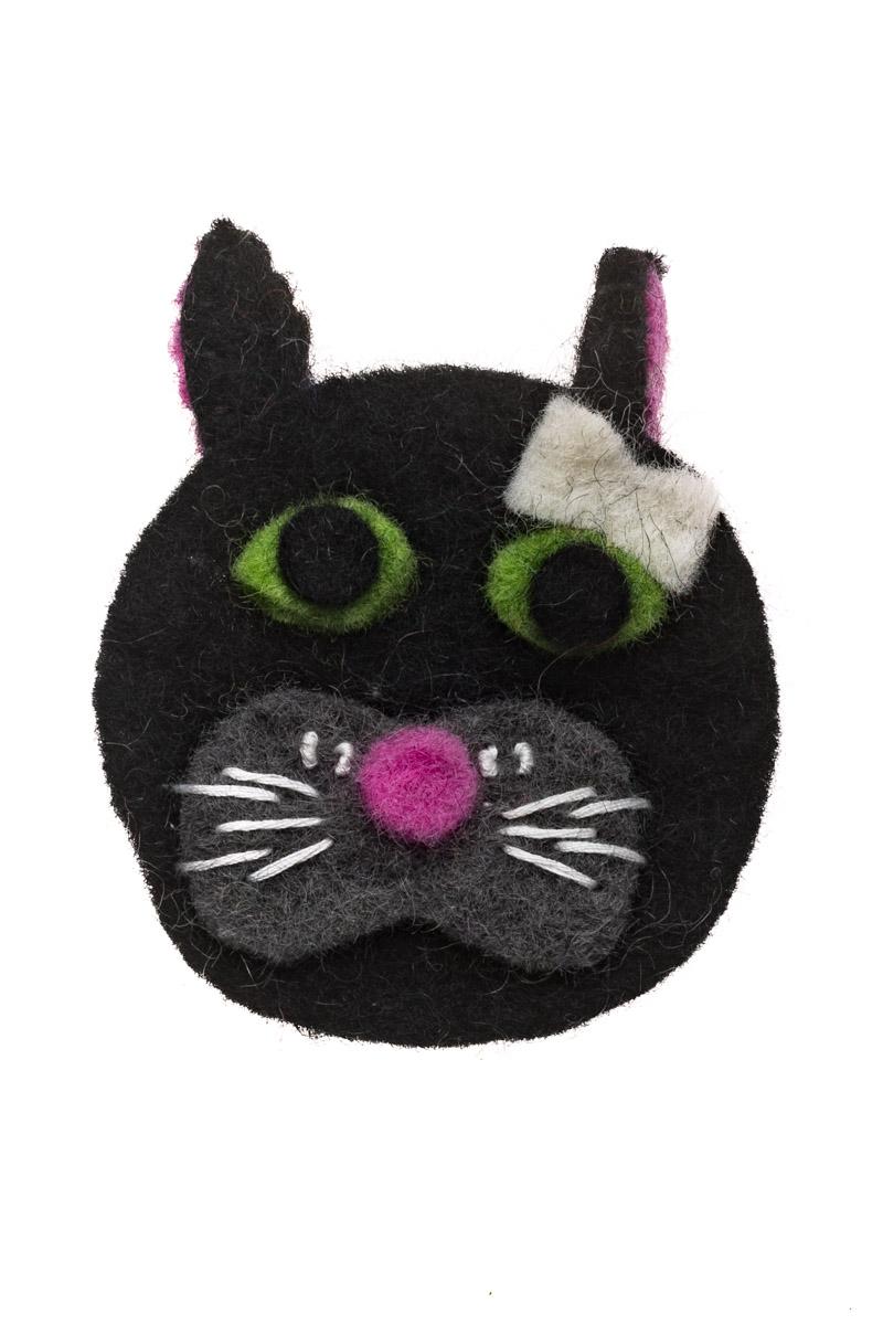 Γυναικεία Καρφίτσα Felt Μαύρη Γάτα