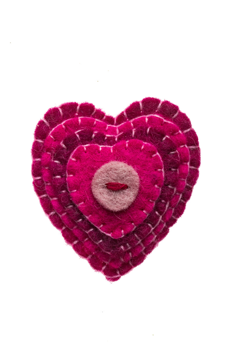 Γυναικεία Καρφίτσα Felt Καρδιά Ροζ