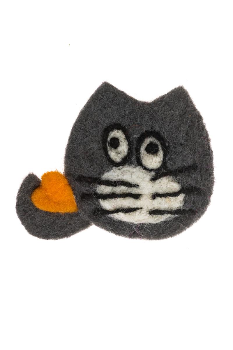 Γυναικεία Καρφίτσα Felt Γκρι Γάτα