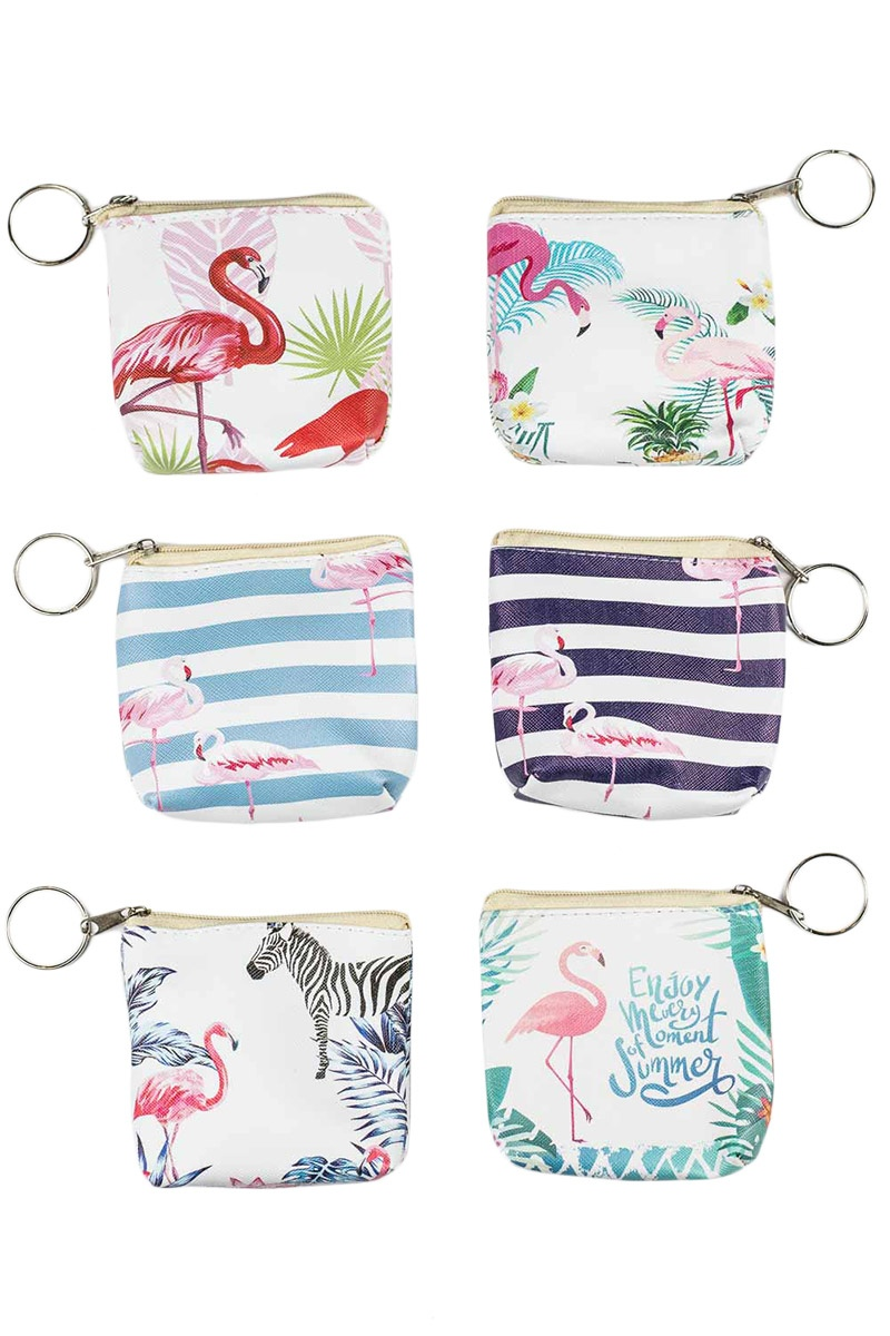 8 Αντισηπτικά Μαντηλάκια σε Πορτοφόλι Μπρελόκ Summer Flamingos