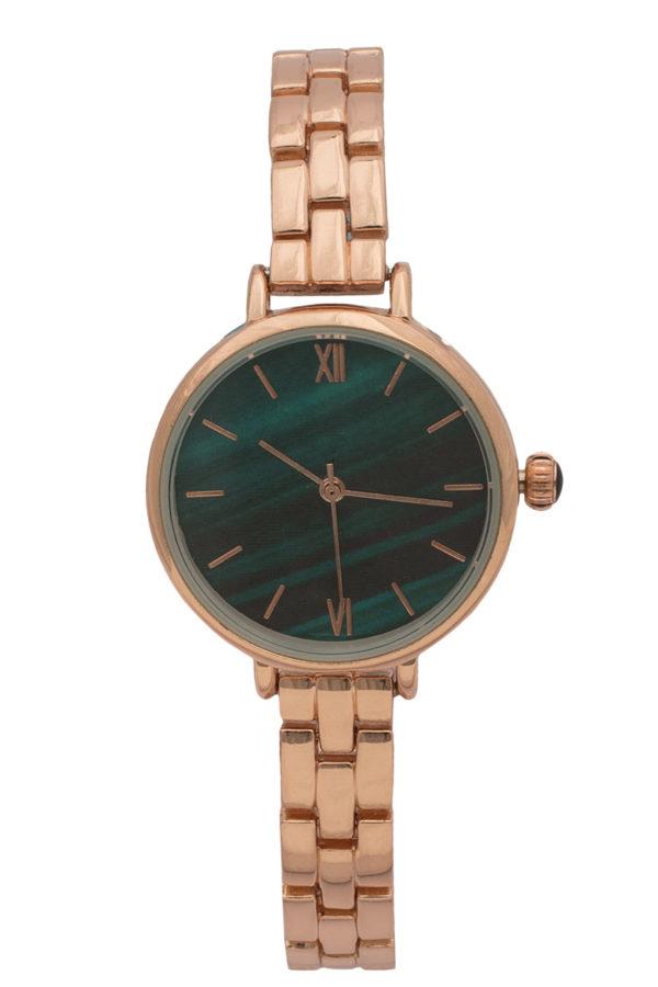 Ρολόι Χειρός Μικρό Πράσινο με Ροζ Χρυσό Bracelet