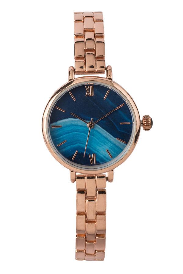 Ρολόι Χειρός Μικρό Μπλε με Ροζ Χρυσό Bracelet