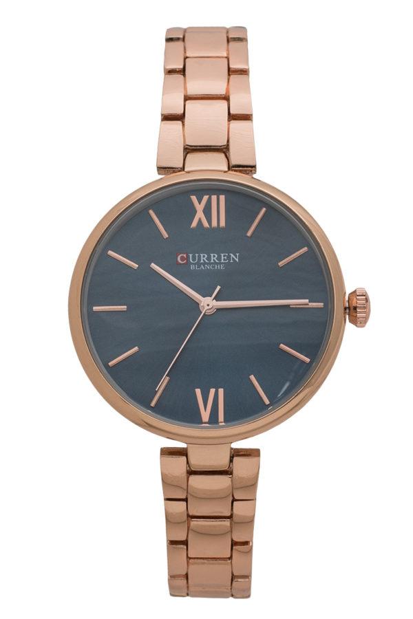 Ρολόι Χειρός Στρόγγυλο Μπλε με Ροζ Χρυσό Bracelet