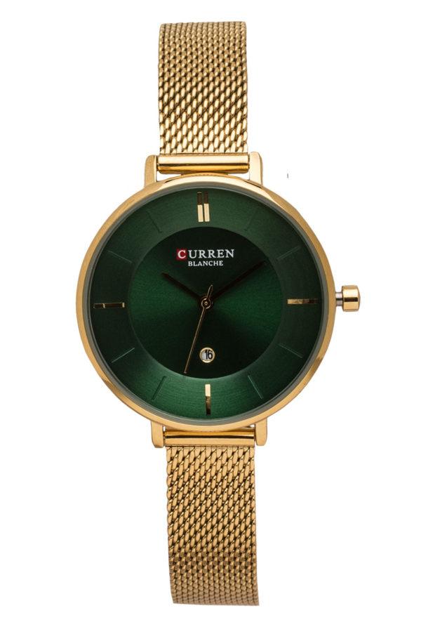 Ρολόι Χειρός Γυναικείο Πράσινο με Χρυσαφί Λουράκι