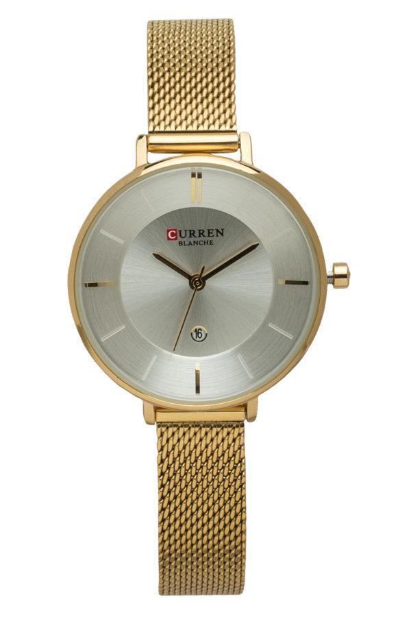 Ρολόι Χειρός Γυναικείο Άσπρο με Χρυσαφί Λουράκι