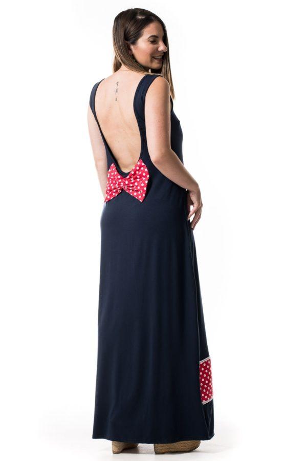 Μπλε Μάξι Εξώπλατο Φόρεμα με Φιόγκο και Πουά Φάσα