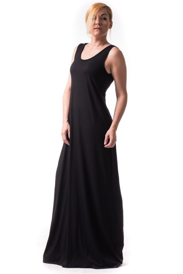 Μαύρο Μακρύ Φόρεμα με Φιόγκο και Ουρά Γαλάζιες Καρδούλες