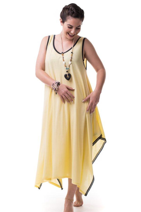 Φόρεμα με Μύτες Κίτρινο με Γκρι