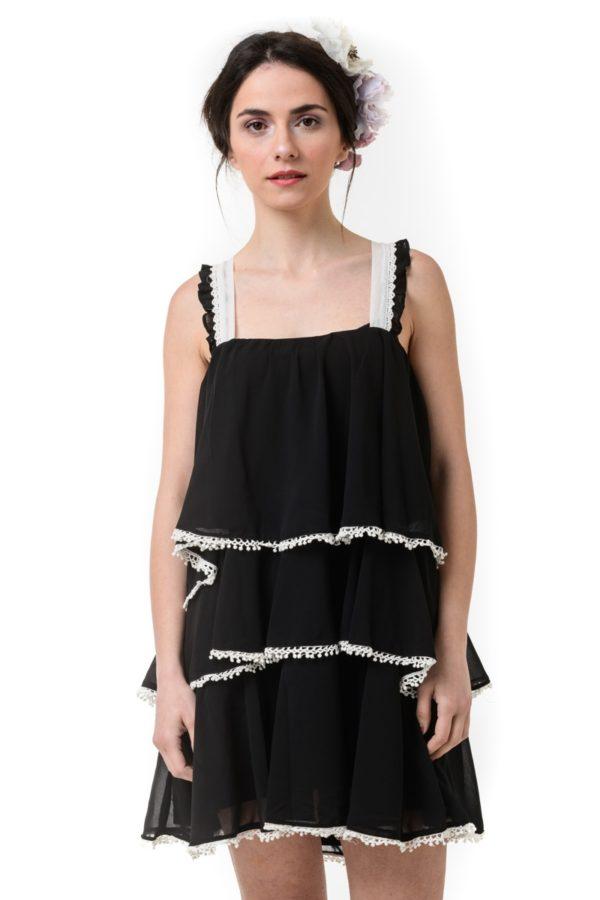 Μαύρο Φόρεμα με Βολάν & Πον Πον