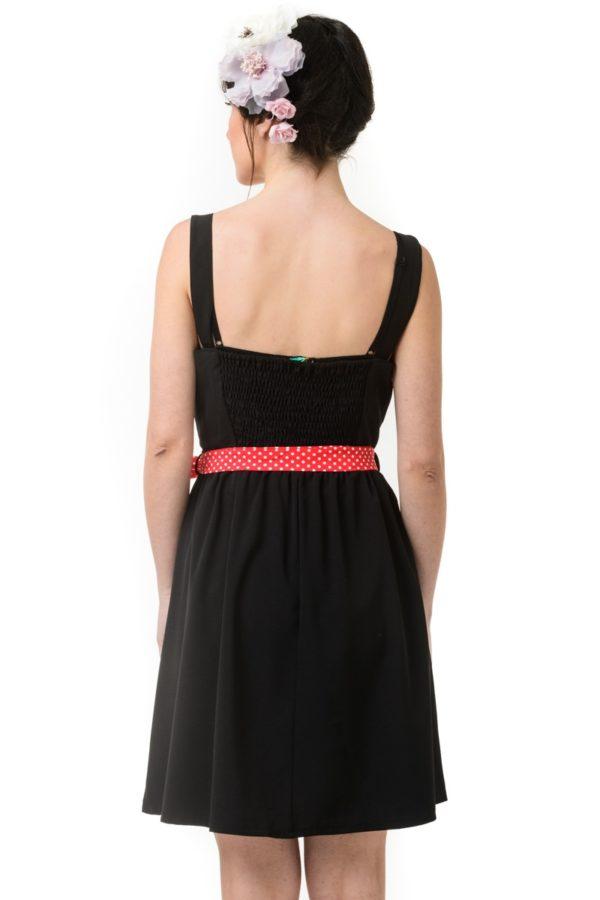 Μαύρο Κοντό Φόρεμα με Ζώνη Πουά Κόκκινο