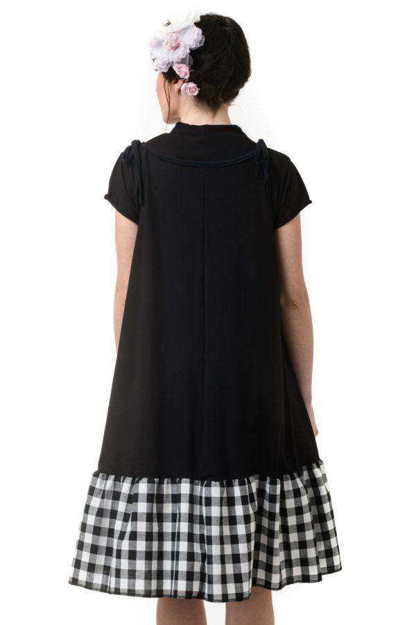 Μαύρο Φόρεμα Τιραντέ με Φάσα Καρό