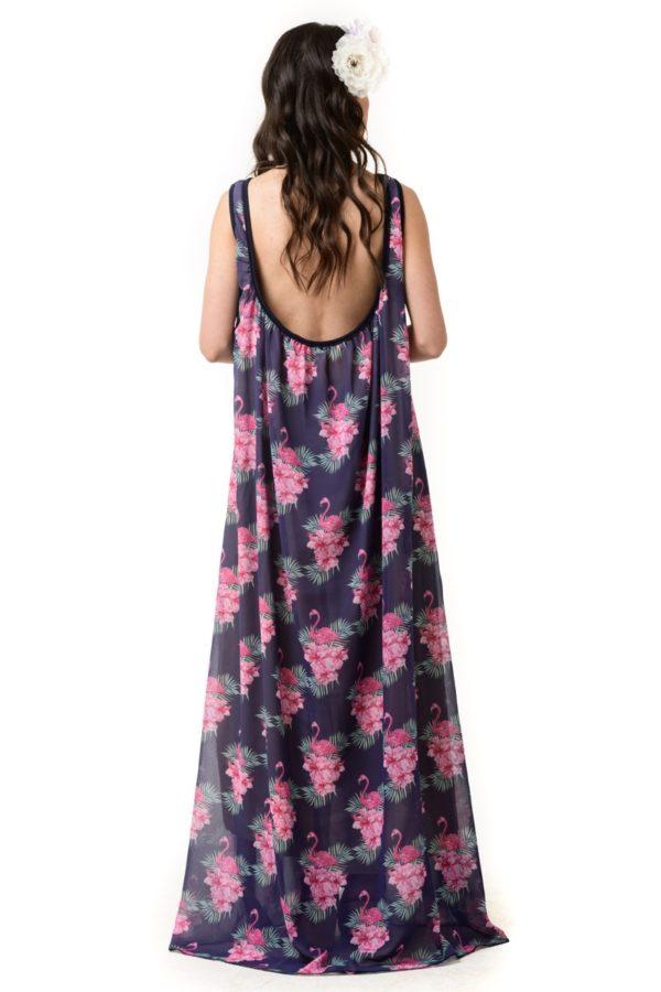 Μακρύ Αέρινο Φόρεμα Φαρδύ Φλαμίνγκο