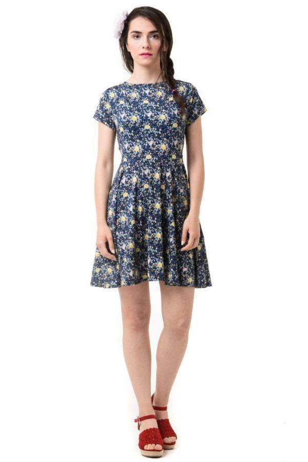 Φόρεμα Skater Μπλε Φλοράλ