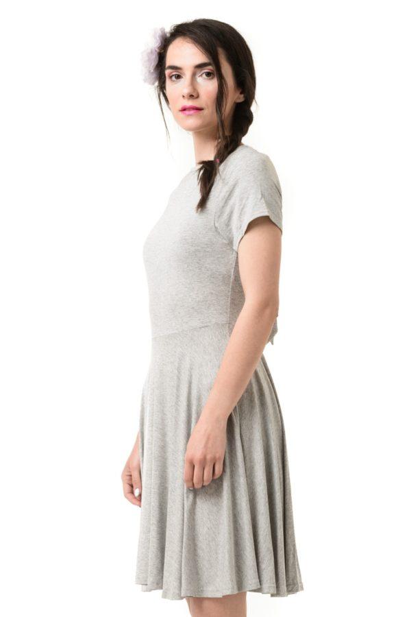 Γκρι Φόρεμα με Ανοιχτή Πλάτη