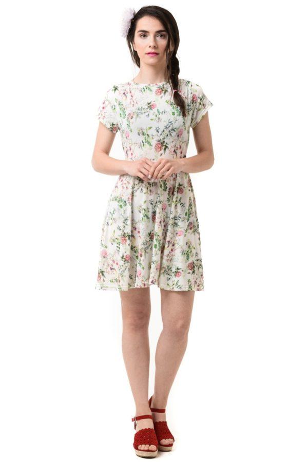 Άσπρο Φόρεμα Κοντό με Ροζ Τριαντάφυλλα