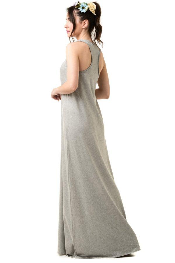Γκρι Μελανζέ Αμάνικο Φόρεμα Μακρύ Με Αθλητική Πλάτη