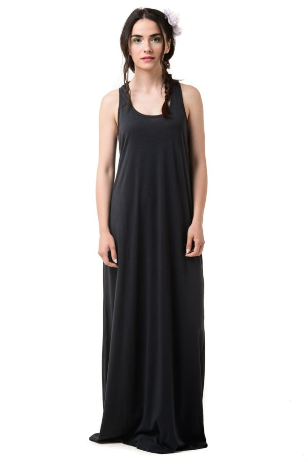 Γκρι Αμάνικο Φόρεμα Μακρύ Με Αθλητική Πλάτη