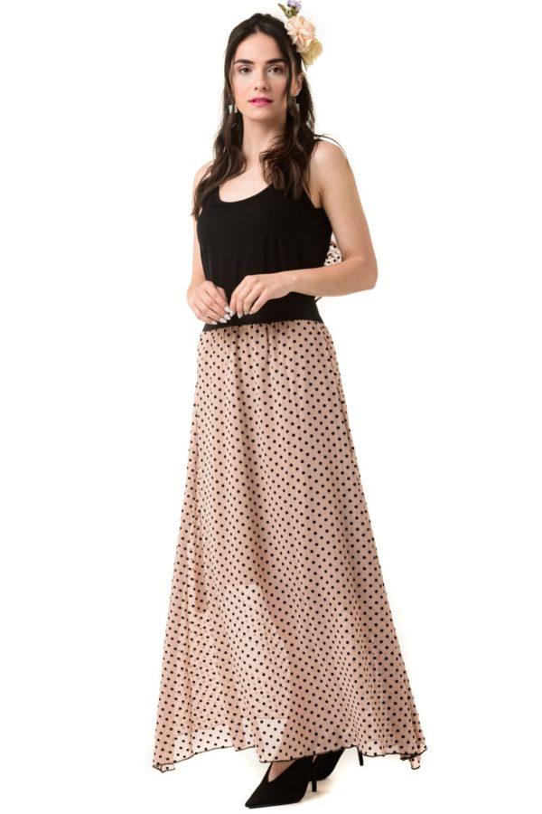 Μακρύ Πουά Φόρεμα Εξώπλατο με Ανοιχτή Πλάτη