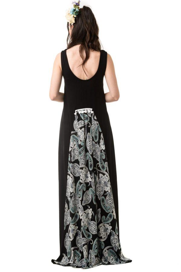 Μαύρο Μακρύ Φόρεμα Με Ουρά Λαχούρια
