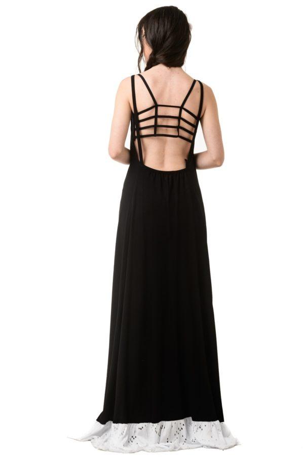 Μαύρο Μακρύ Φόρεμα Εξώπλατο με Φάσα Άσπρη