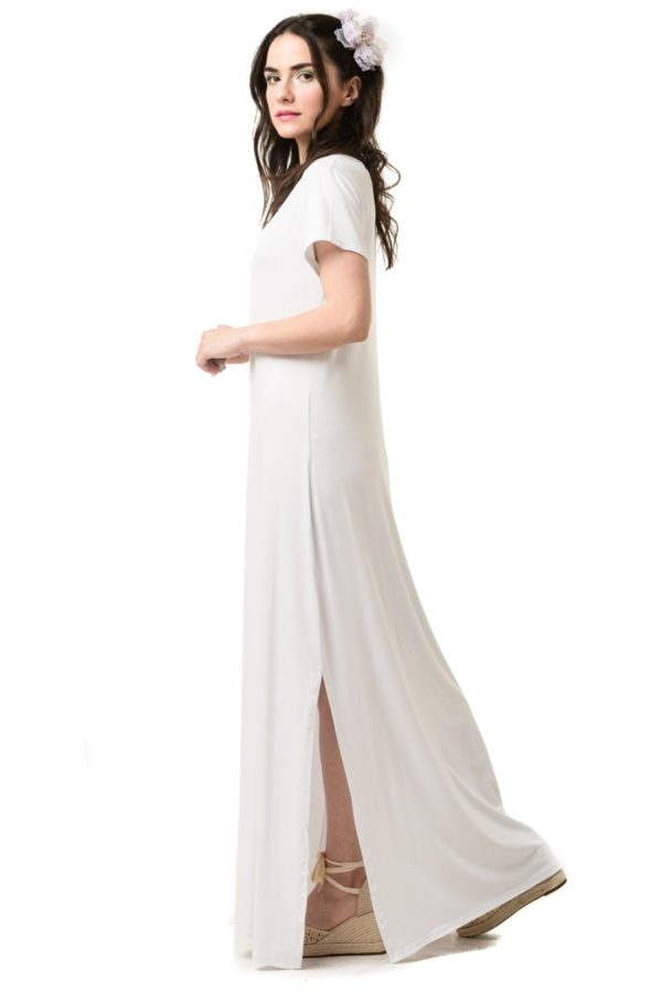 Άσπρο Καθημερινό Φόρεμα Μακρύ με Άνοιγμα