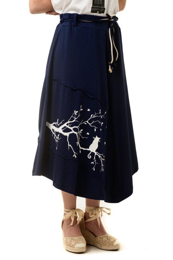 Μπλε Φούστα με Τύπωμα Κλαδιά