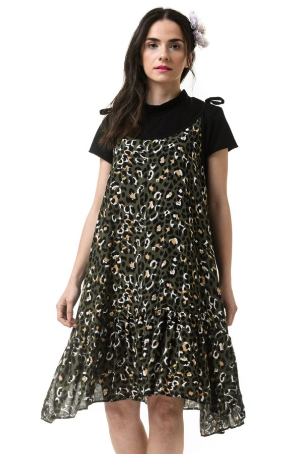 Πράσινο Λεοπάρ Κοντό Φόρεμα Με Δετά Κορδόνια