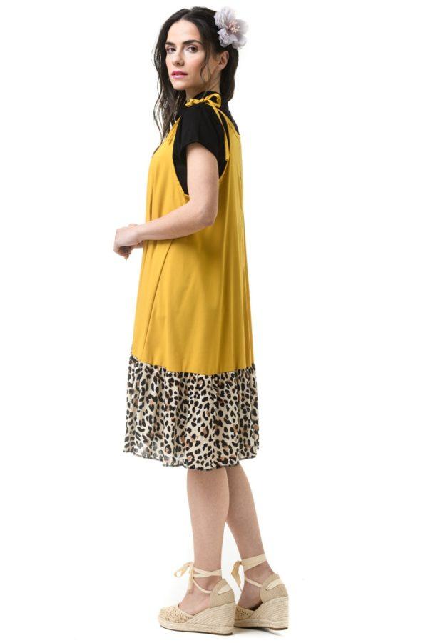Ώχρα Λεοπάρ Κοντό Φόρεμα Με Δετά Κορδόνια