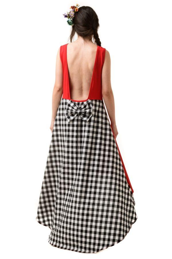 Ασύμμετρο Κόκκινο Φόρεμα με Ουρά Καρό