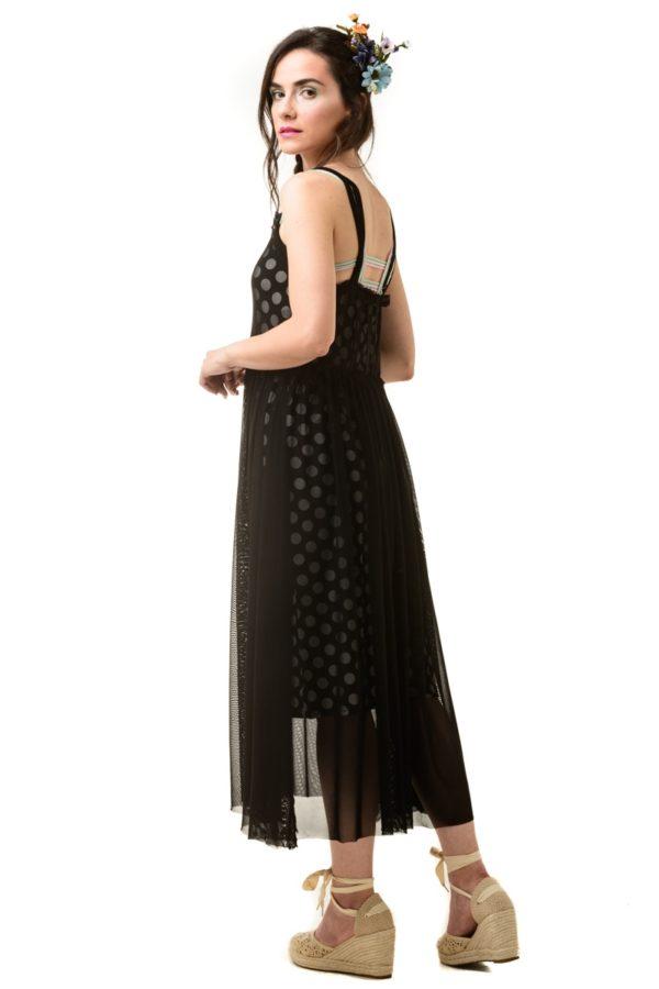 Μαύρο Μίντι Φόρεμα Τούλι με Μεσοφόρι Μαύρο Πουά