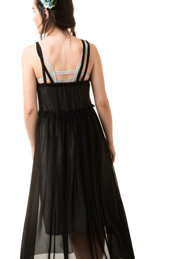 Μαύρο Μίντι Φόρεμα Τούλι με Μεσοφόρι Γκρι Πουά