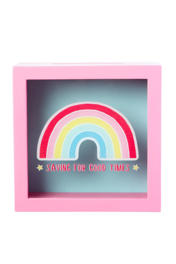 Κουμπαράς Ξύλινος με Γυαλί Chasing Rainbows