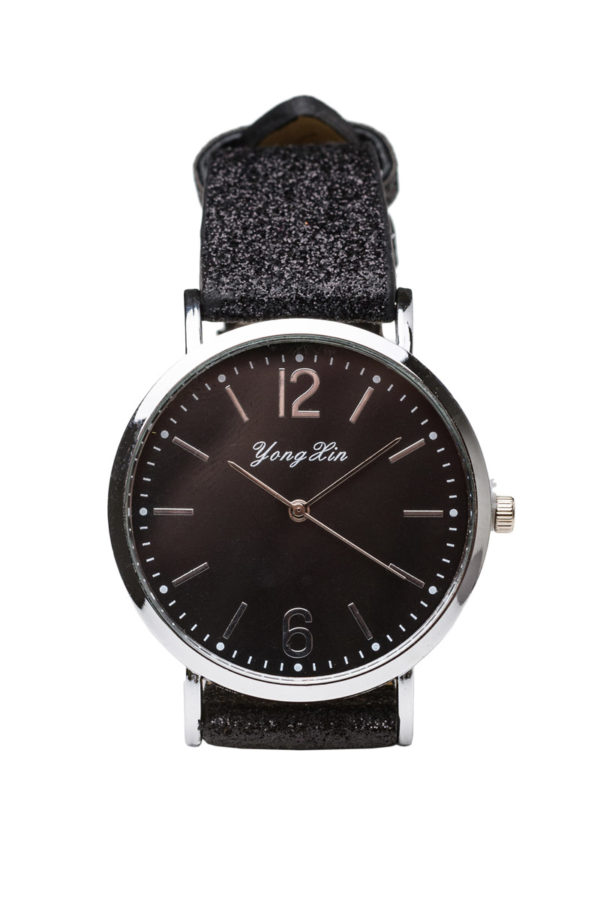 Ρολόι Χειρός Γυναικείο Μαύρο Γκλίτερ με Λουράκι