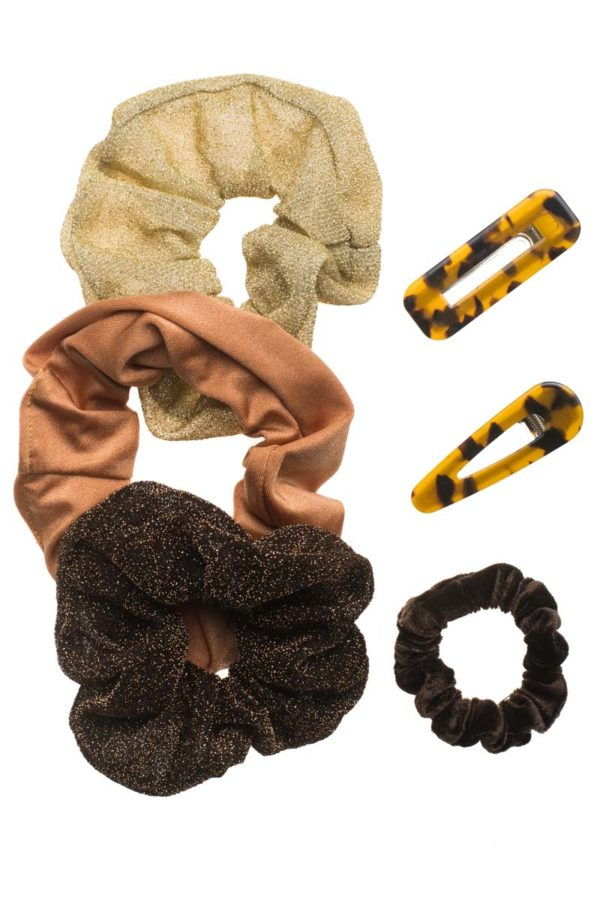 Set of 6 Scrunchies & Clips Κοκκαλάκια Shiny Browns