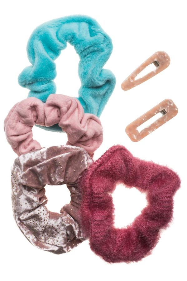 Set of 6 Scrunchies & Clips Κοκκαλάκια Pinks