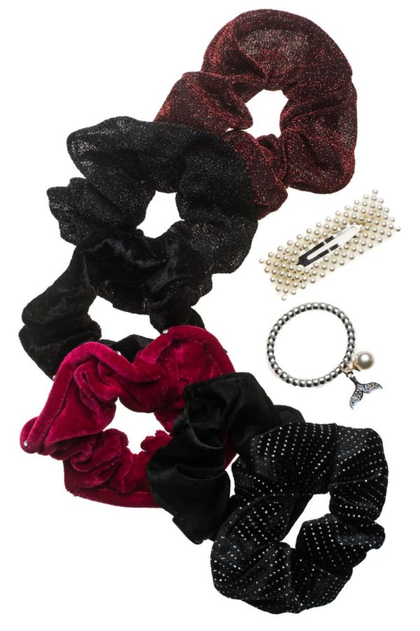 Set of 8 Scrunchies & Clips Κοκκαλάκια Black & Red