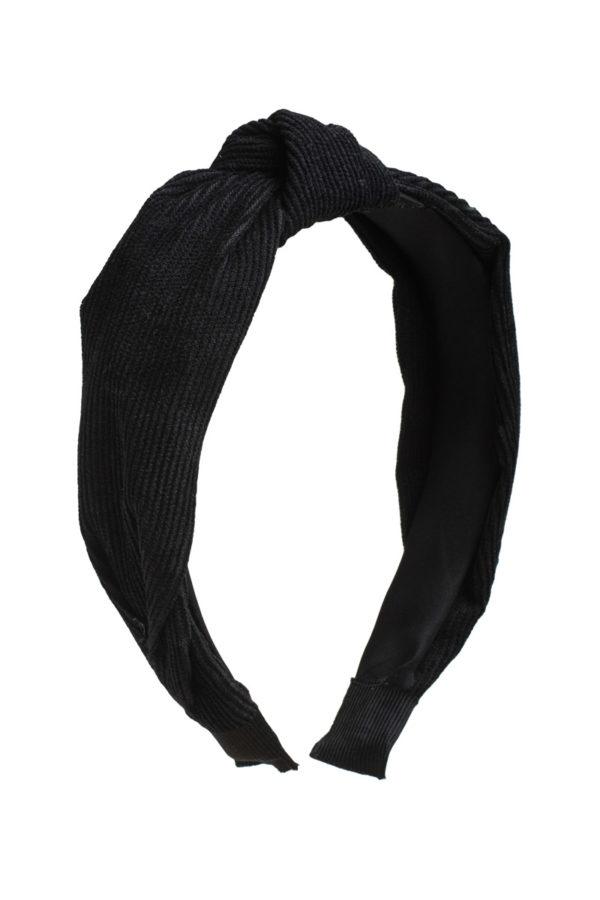Μαύρη Στέκα Μαλλιών Τουρμπάνι Κοτλέ