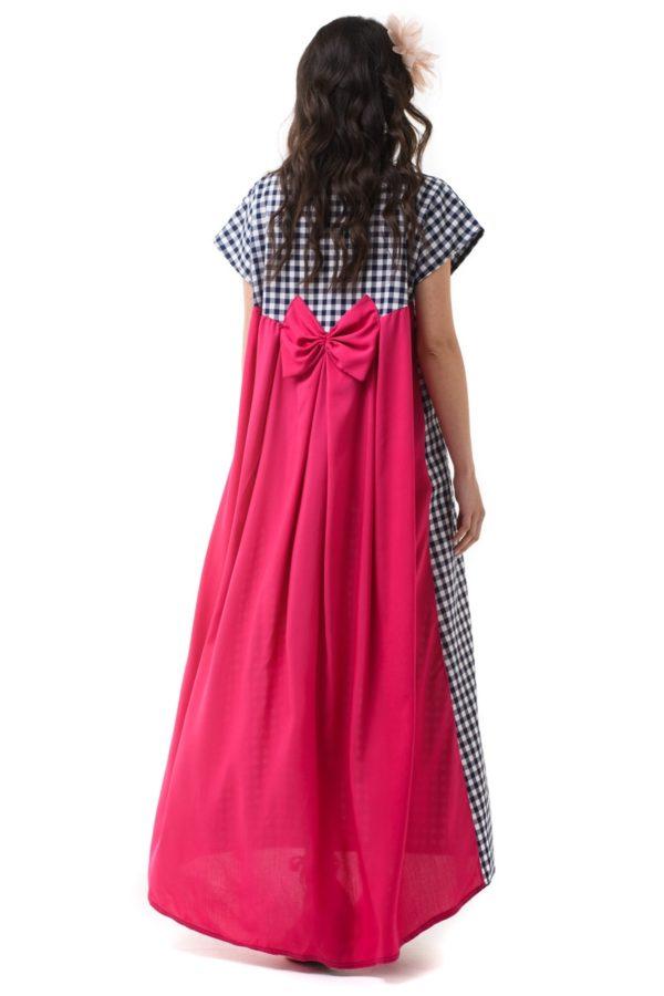 Φούξια Φόρεμα Μακρύ με Φιόγκο & Ουρά